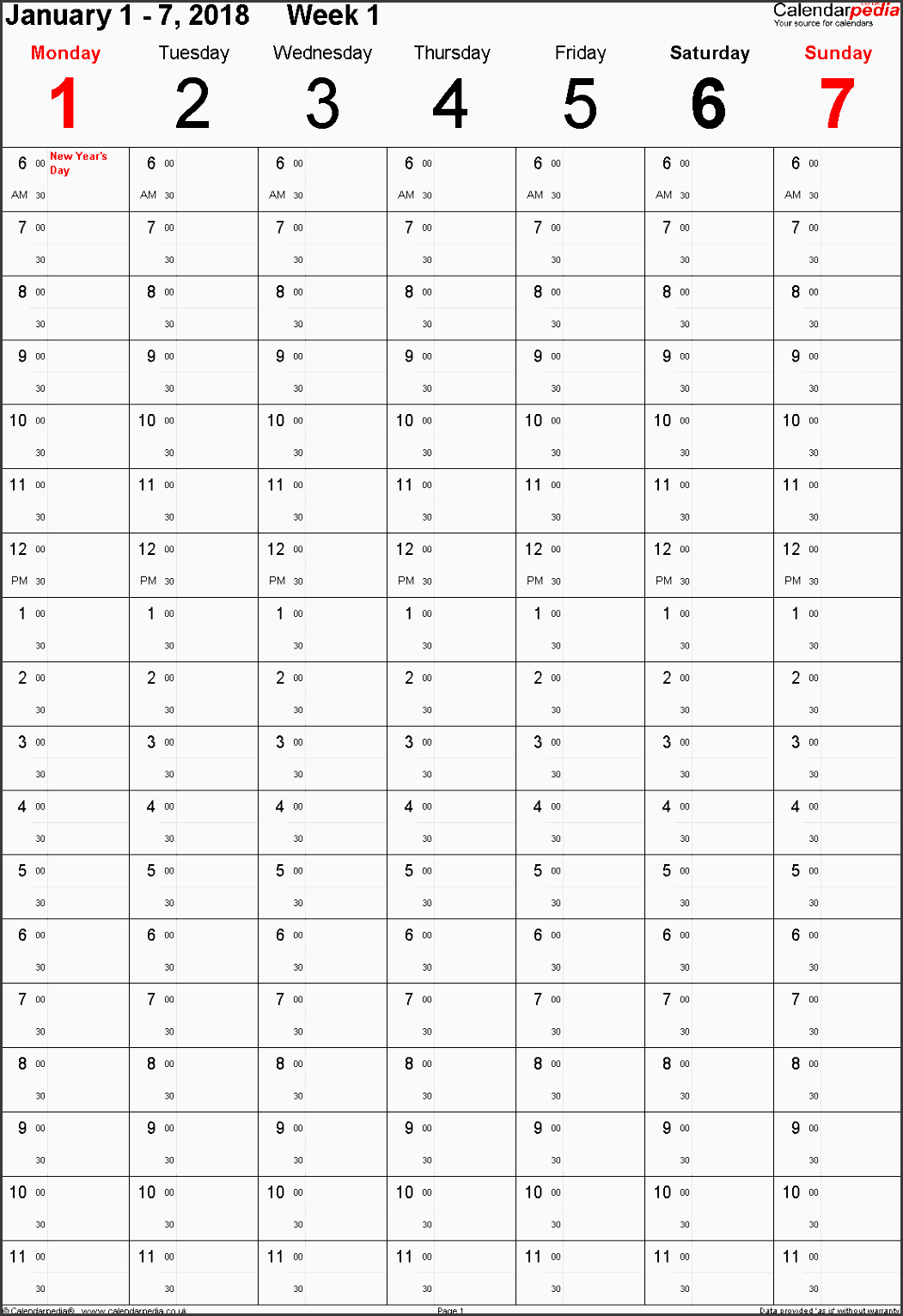 template 8 weekly calendar 2018 uk portrait orientation time planner layout