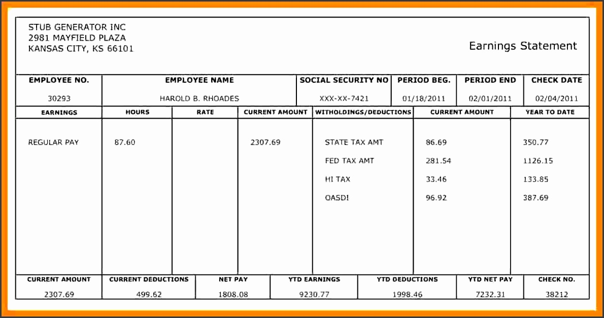 california pay stub requirements and blank pay stubs template