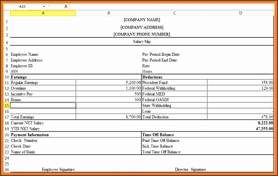 free salary payslip template excelee salary payslip template excellary payslip format in excel free pay slip template