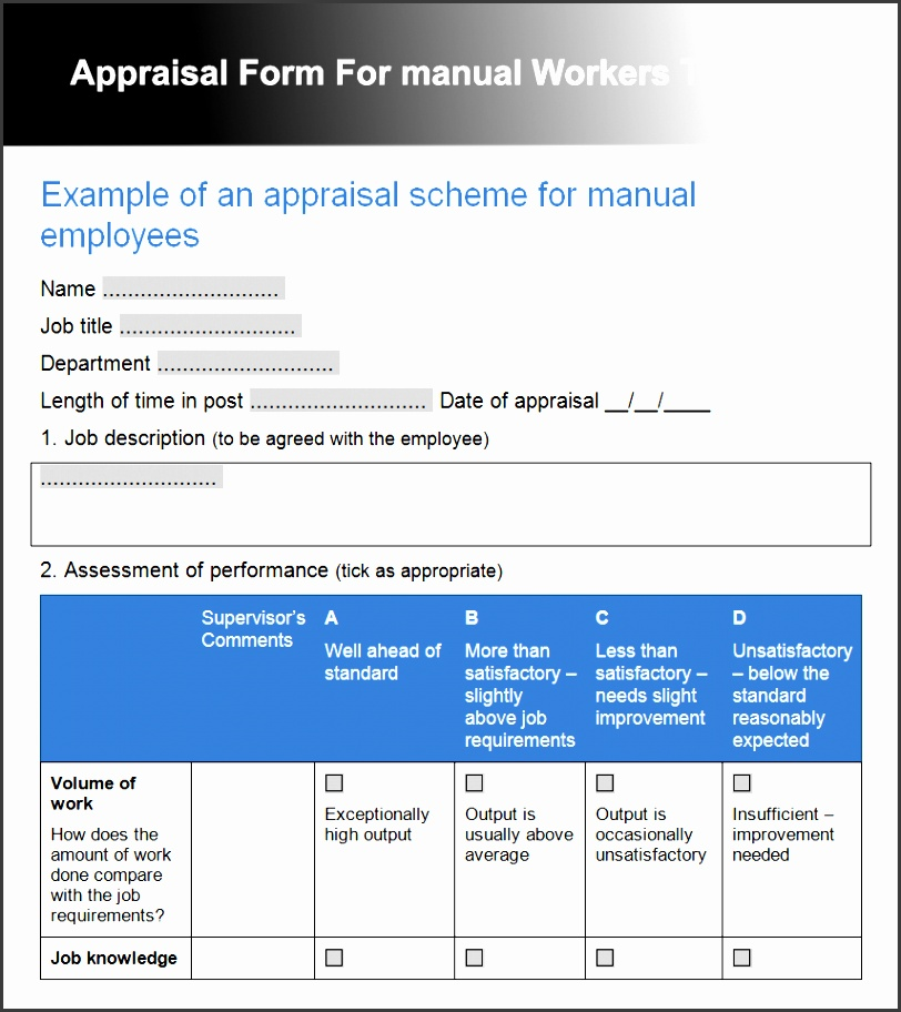 Employee Performance Review Templates Free Premium Creative Appraisal Form  For Manual Workers Template Employee Performance Review  Job Manual Template