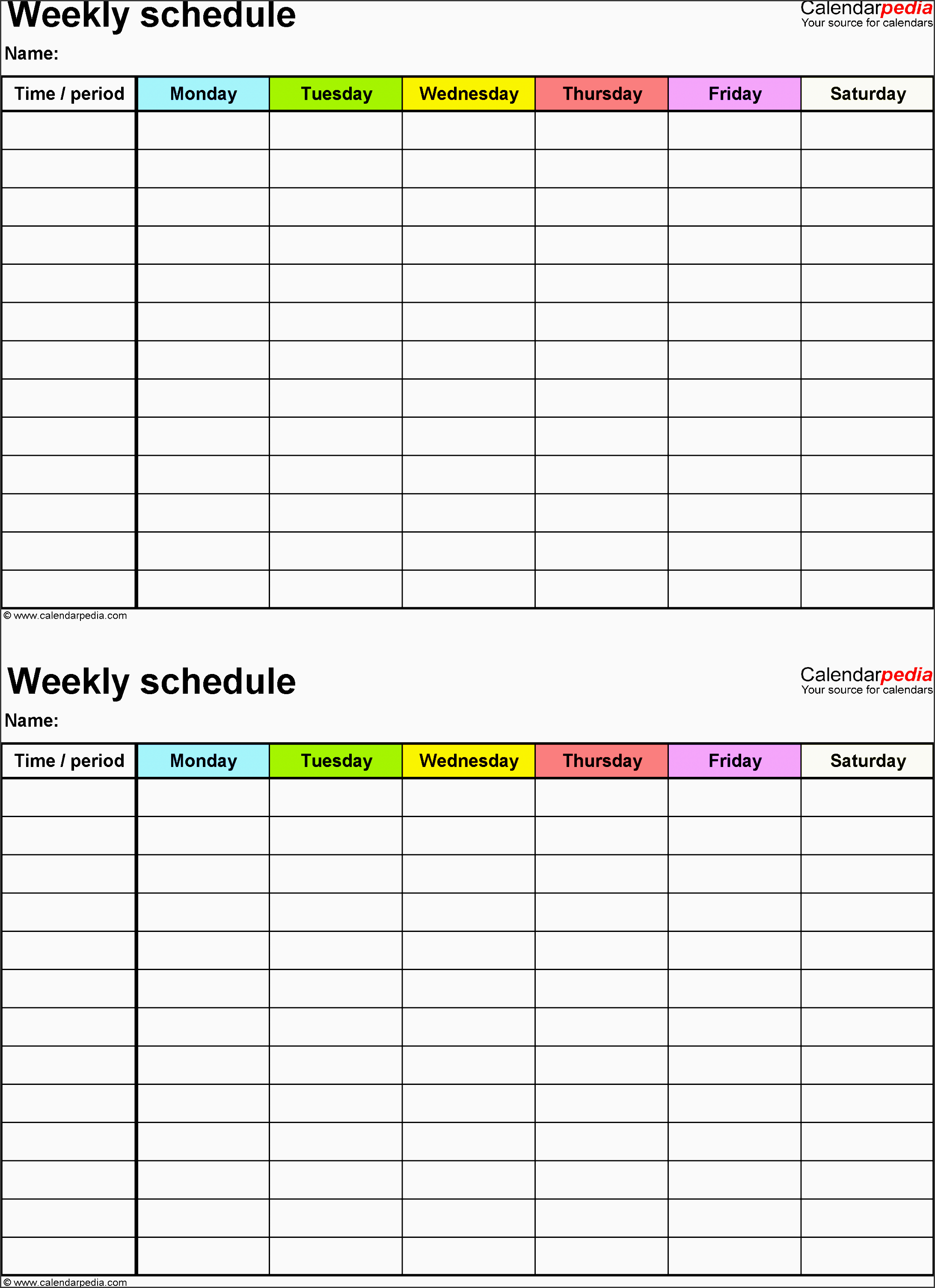 weekly schedule template for word version 9 2 schedules on one page portrait