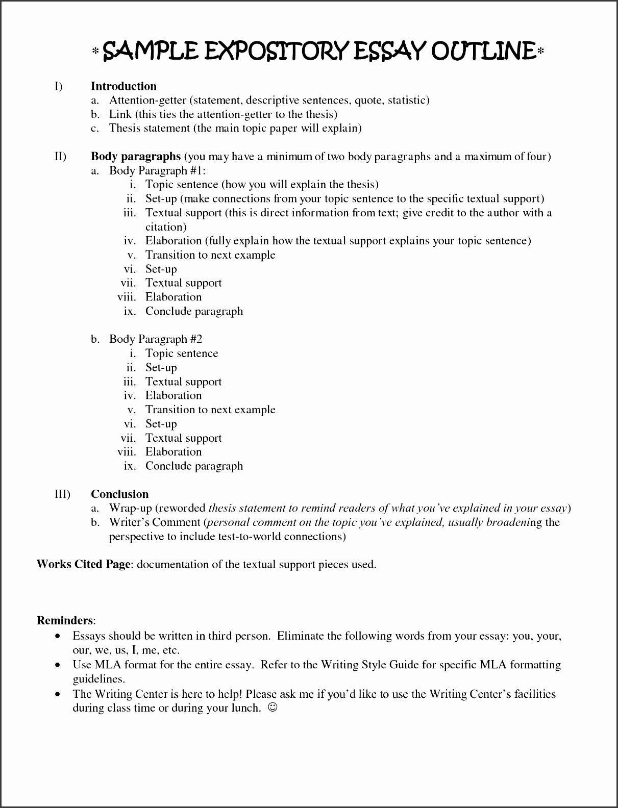descriptive essay outline sample
