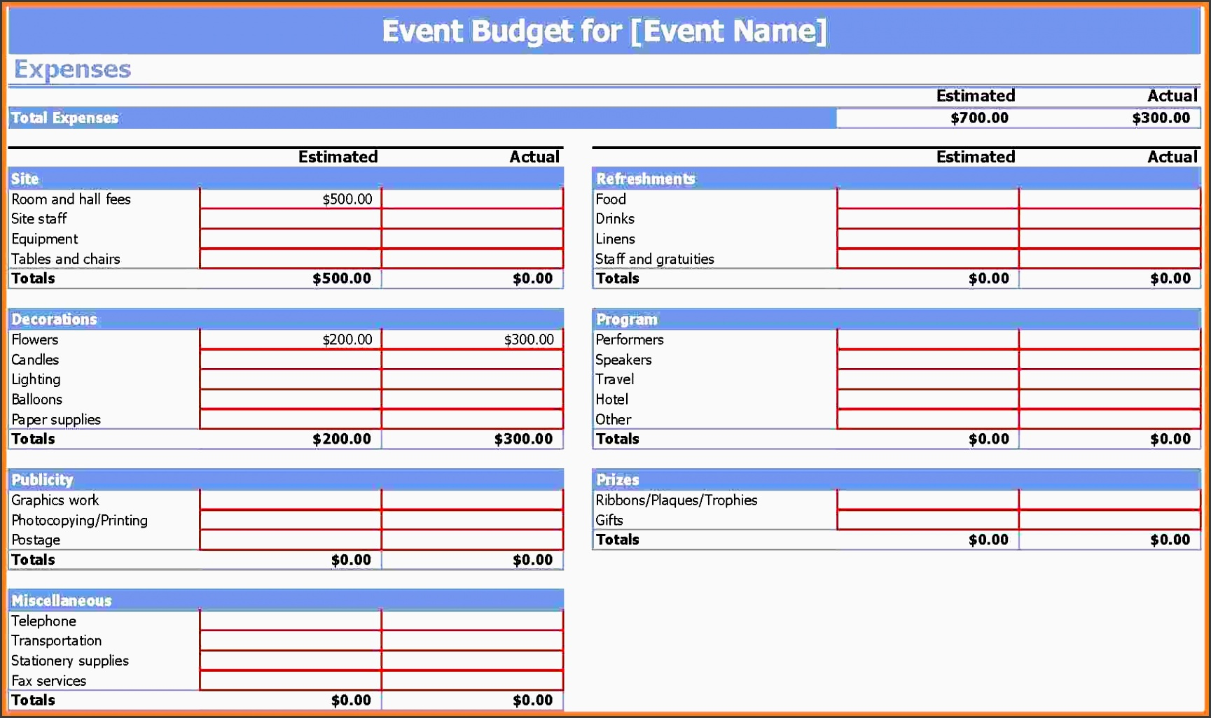 event bud proposal template event bud template 9