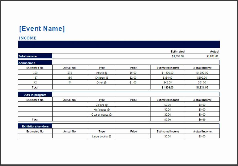 5 event budget spreadsheet template sampletemplatess sampletemplatess. Black Bedroom Furniture Sets. Home Design Ideas