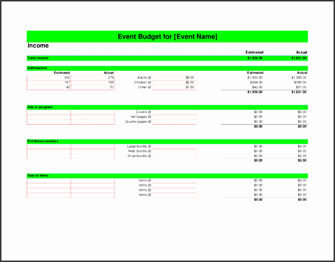 event bud ing excel template 2
