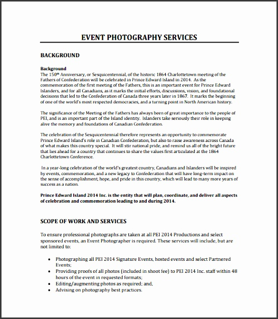 event photography proposal format