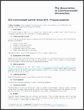 acu monwealth summer school 2018 proposal guidelines