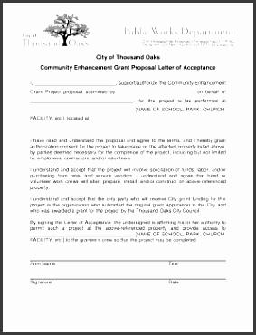 munity enhancement grant proposal letter of acceptance