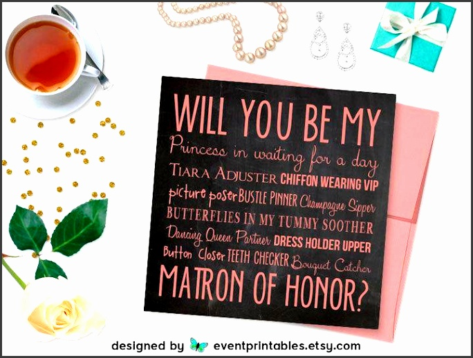 will you be my matron of honor card printable diy file pink chalkboard matron of honour proposal digital by event printables