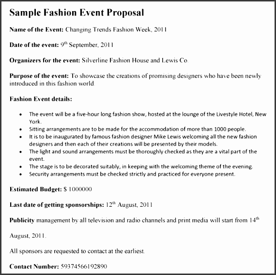 fashion event proposal template Â
