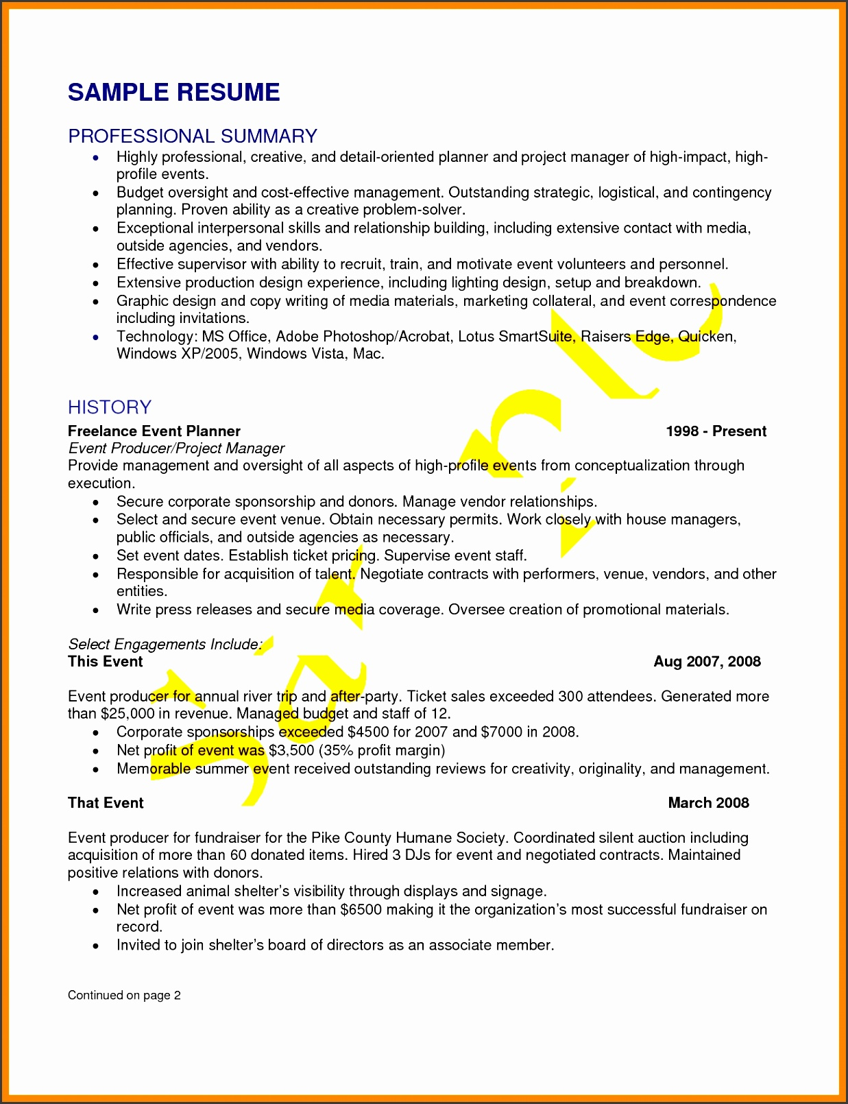 7 event proposal sample templates sampletemplatess for Events manager job description template