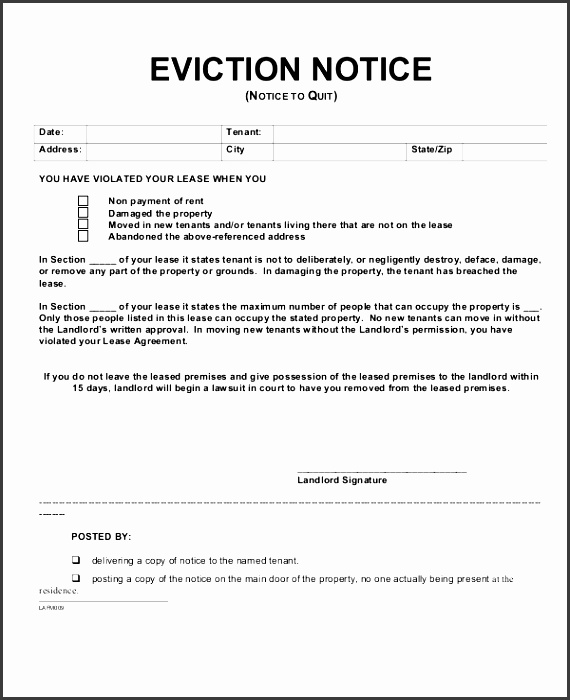 tenant eviction notice form template