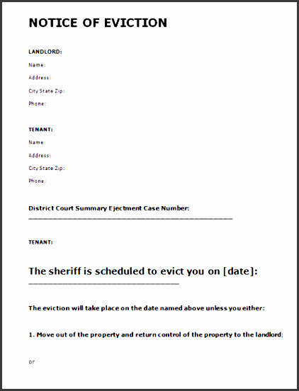 template free eviction notice letters