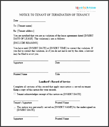printable sample eviction notice template form