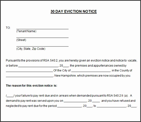 30 day eviction notice template sample 30 day notice template 8 free documents in pdf word