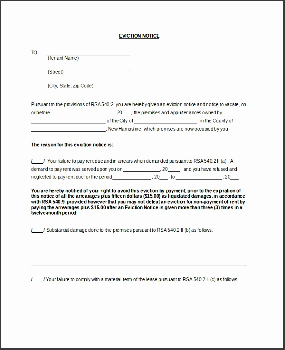 standard eviction notice form template