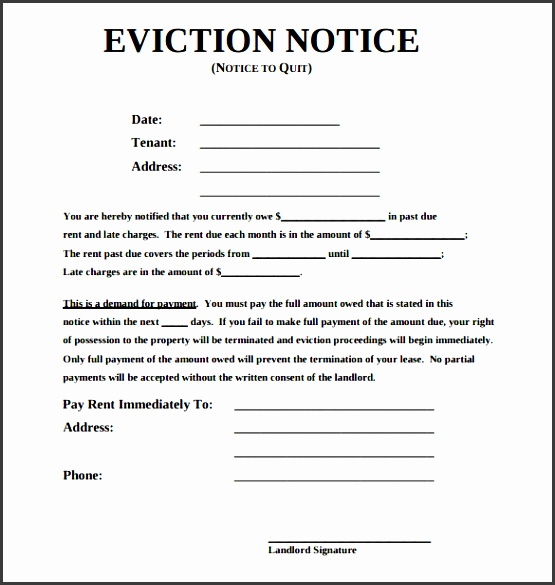 5 Eviction Notice Template Downloadable