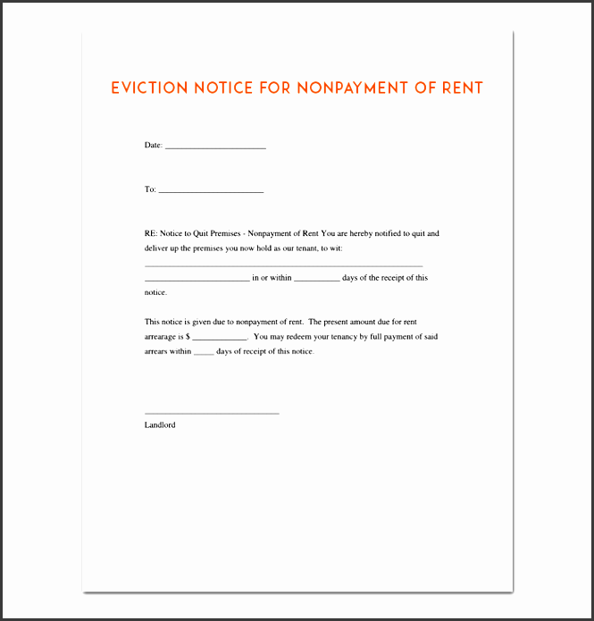 5 eviction notice template easy to customize sampletemplatess sampletemplatess. Black Bedroom Furniture Sets. Home Design Ideas