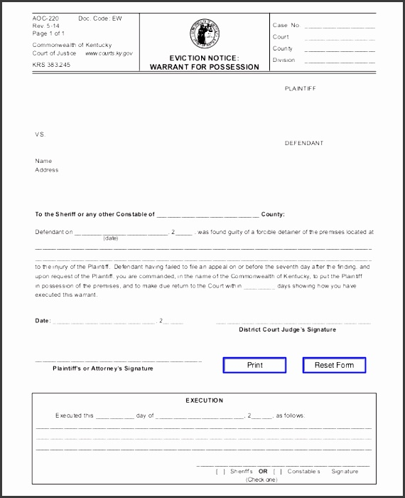 Printable Eviction Notice Form Template  Free Printable Eviction Notice Template