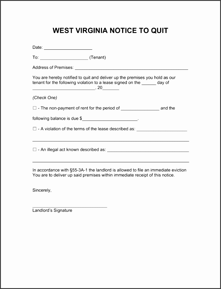 free west virginia eviction notice forms process and laws pdf word eforms free fillable forms