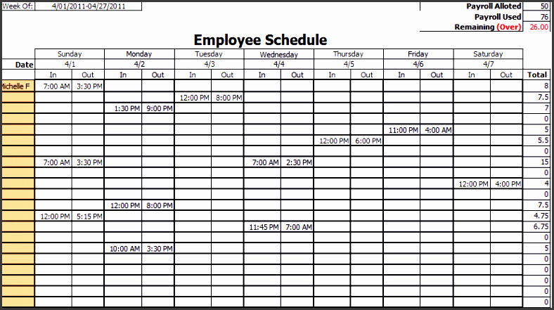 excel daily work schedule template not working