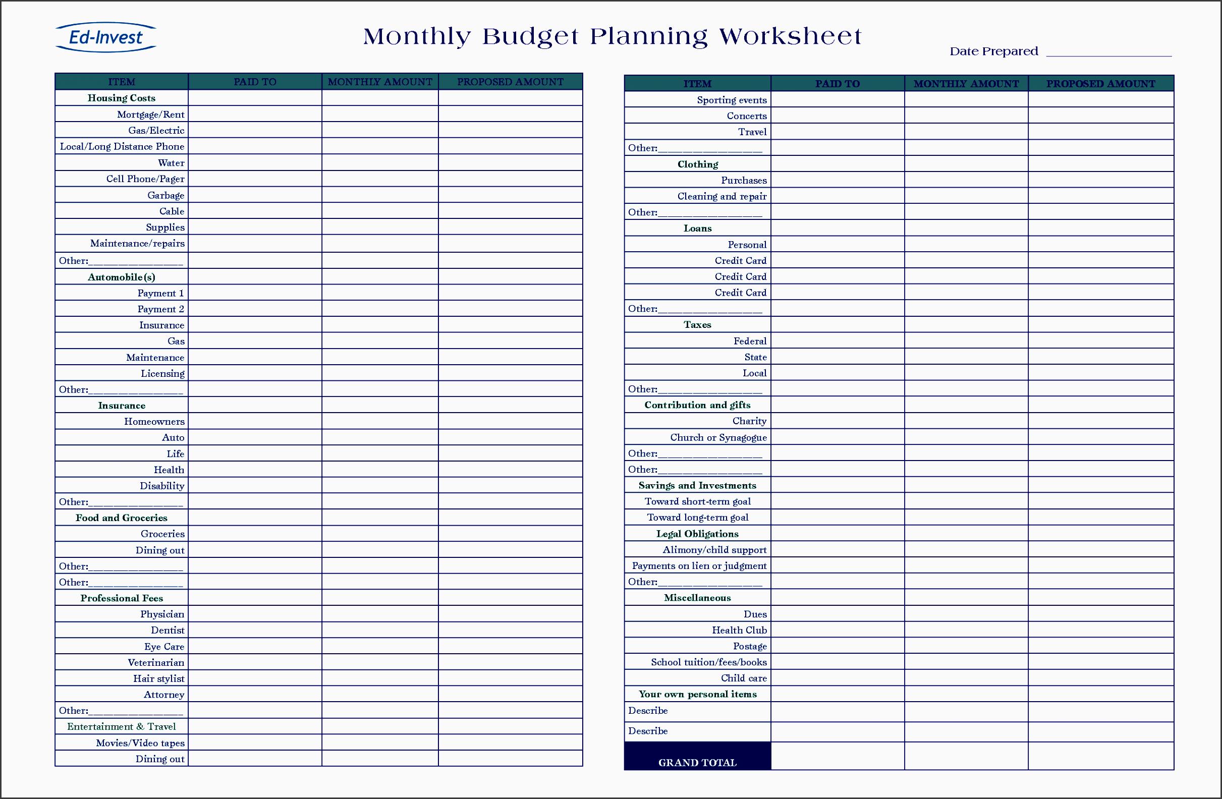 bud plan sheet