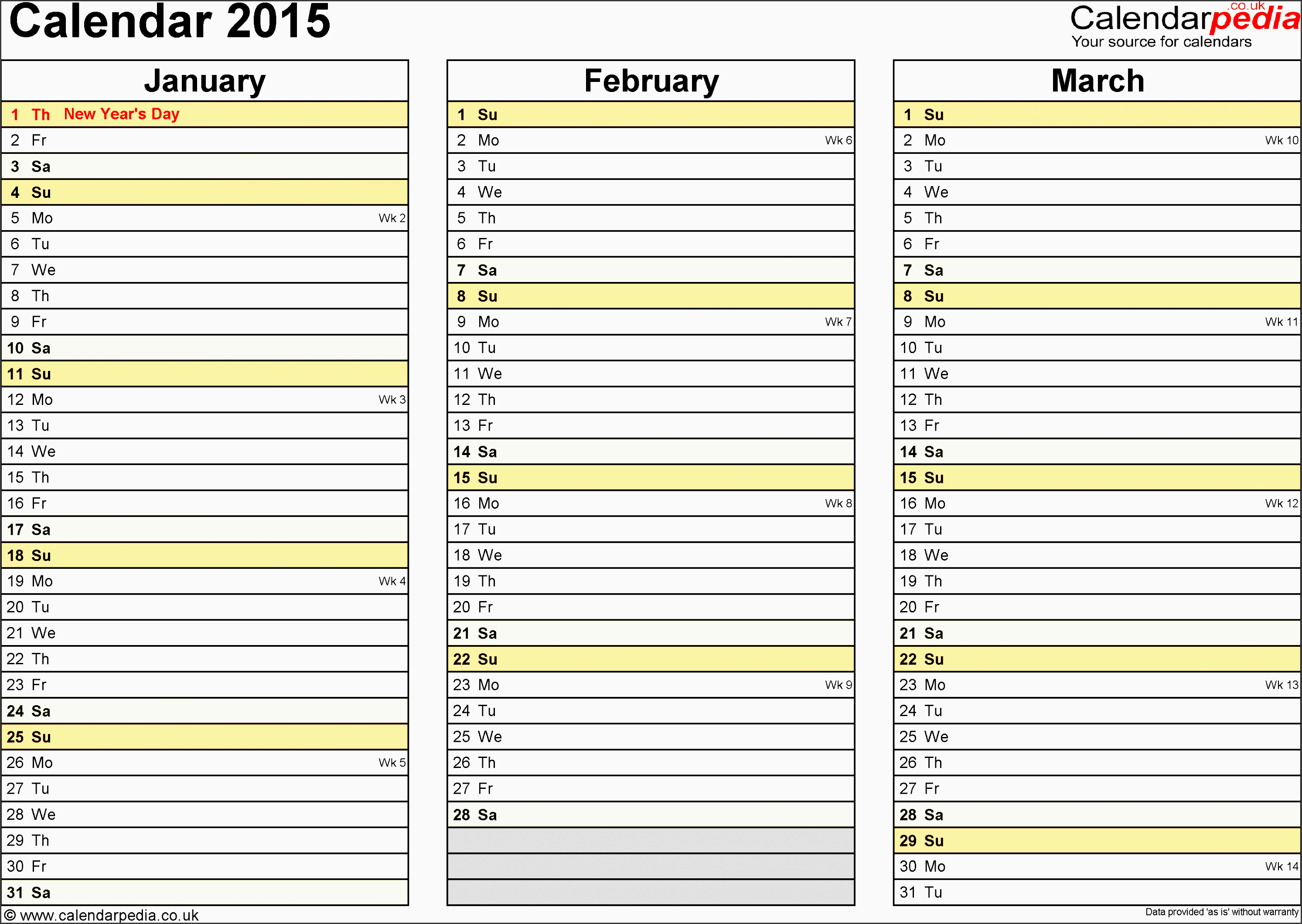 template 5 yearly calendar 2015 as excel template landscape orientation 4 pages