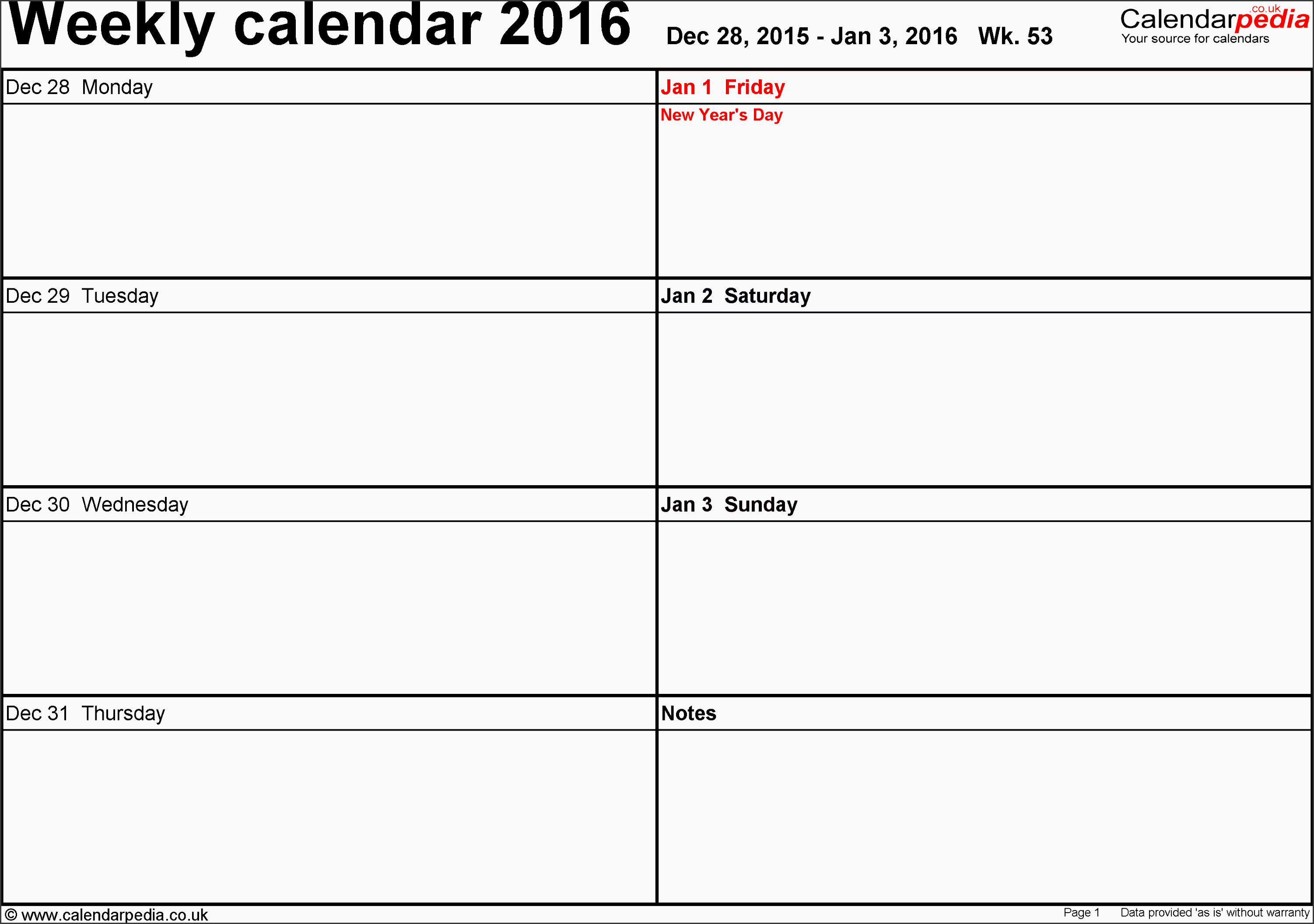 excel template 6 weekly calendar 2016 landscape orientation days horizontally 53 pages