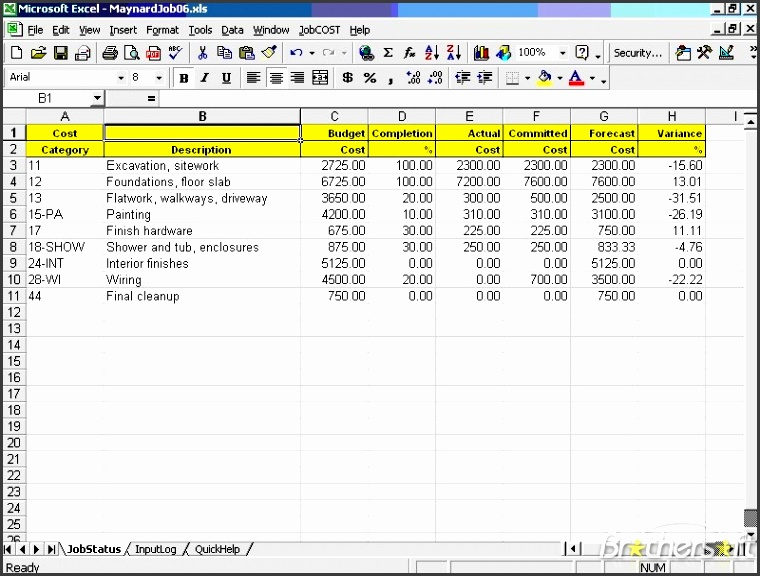 jobcost controller for excel 1