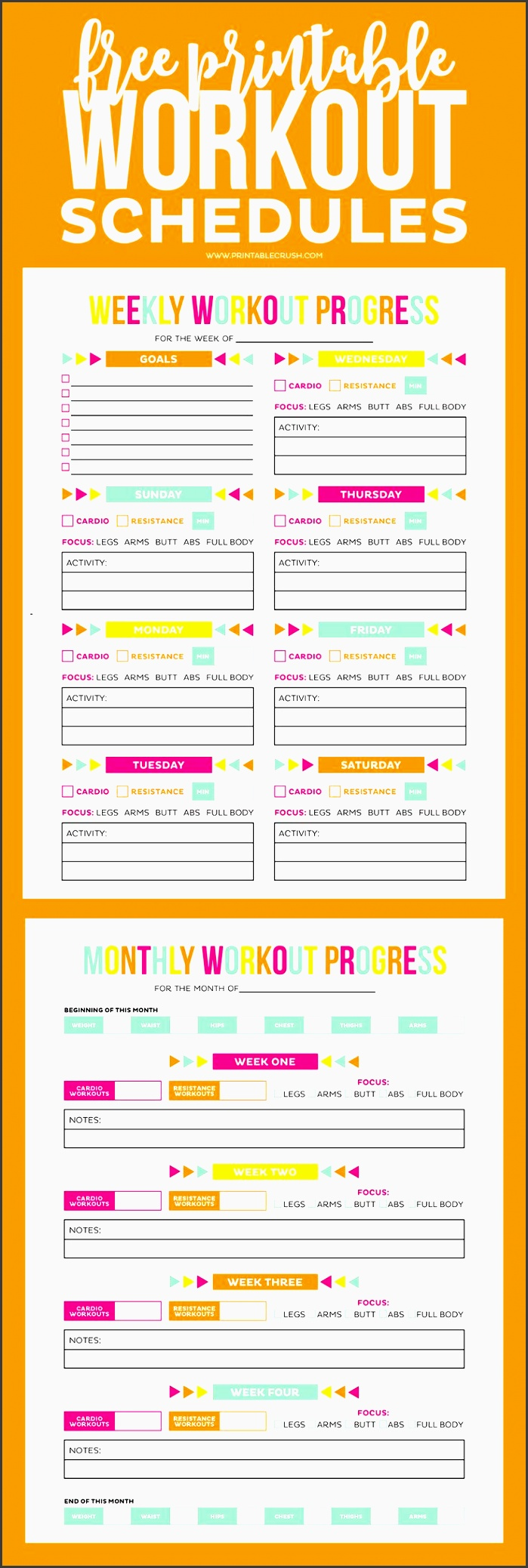this free printable workout schedule and progress sheet to help you keep in shape