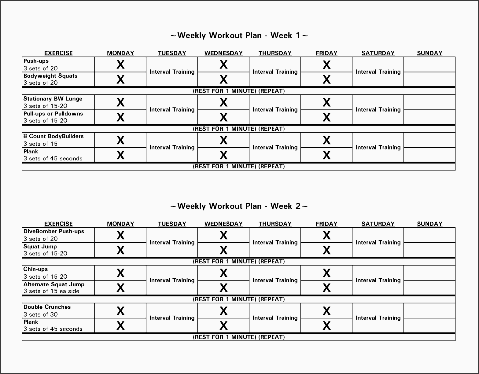 bodybuilding weekly workout routine