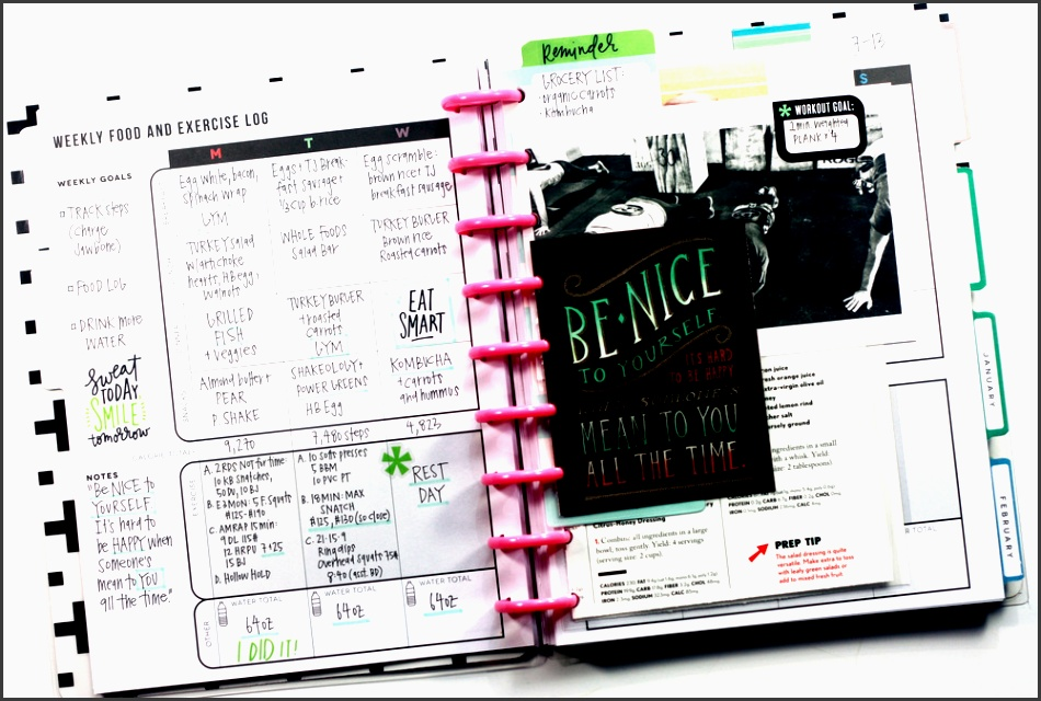 weekly food exercise log added inspirational elements in the fitness planner of mambi design