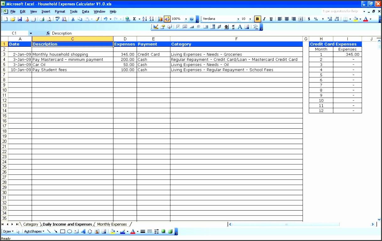 household expenses tracker
