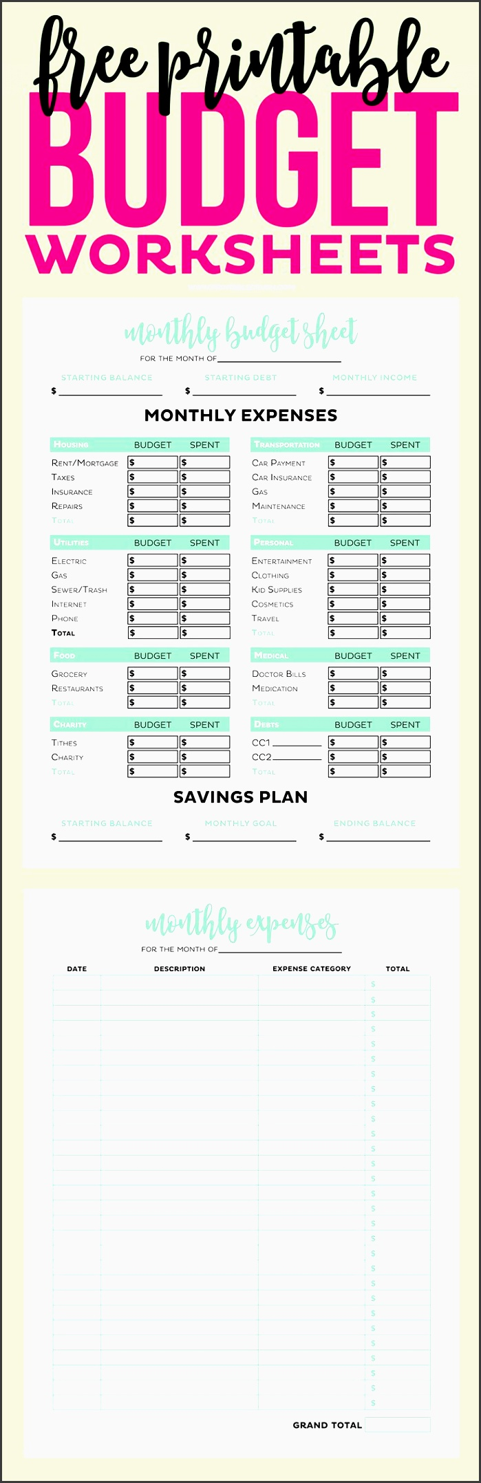 free printable bud worksheet planner insert page personal finance and expenses us letter paper size
