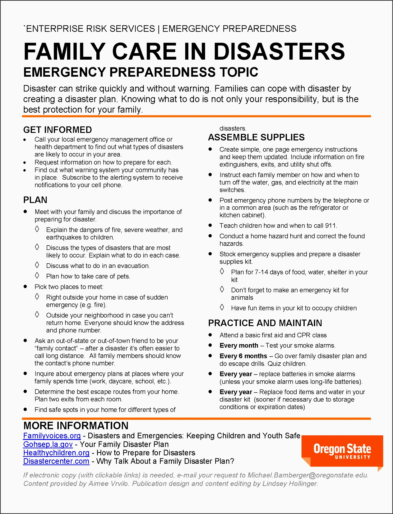 mid month emergency preparedness topic family care in