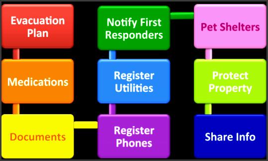 emergency preparedness flow chart detail evacuation plan medications documents register phones