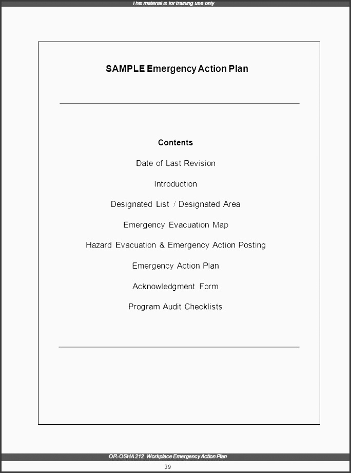 emergency action plan this material is for training use only or osha 212 workplace