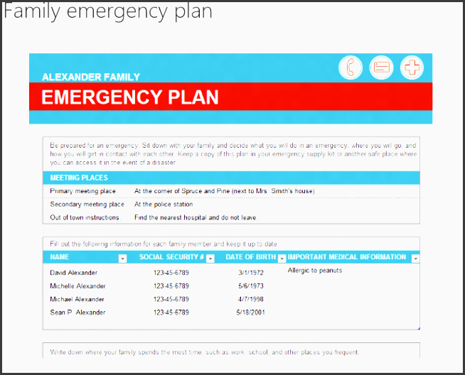 emergency preparedness plan templates