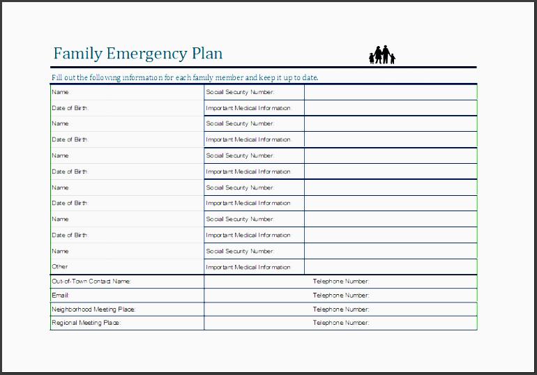 family emergency plan sheet