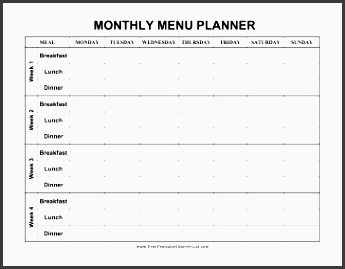 this monthly menu planner has four weeks of meals and sections for breakfast lunch and
