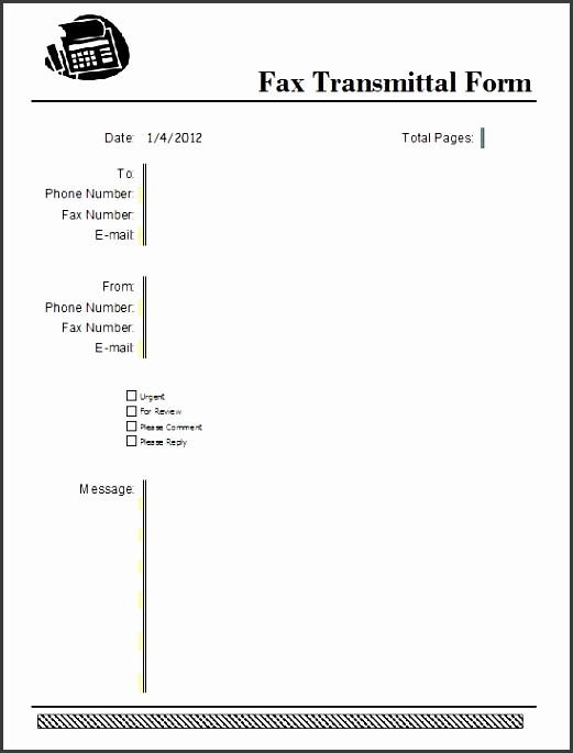 10 fax transmittal template