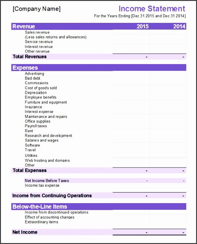 financial in e statement template