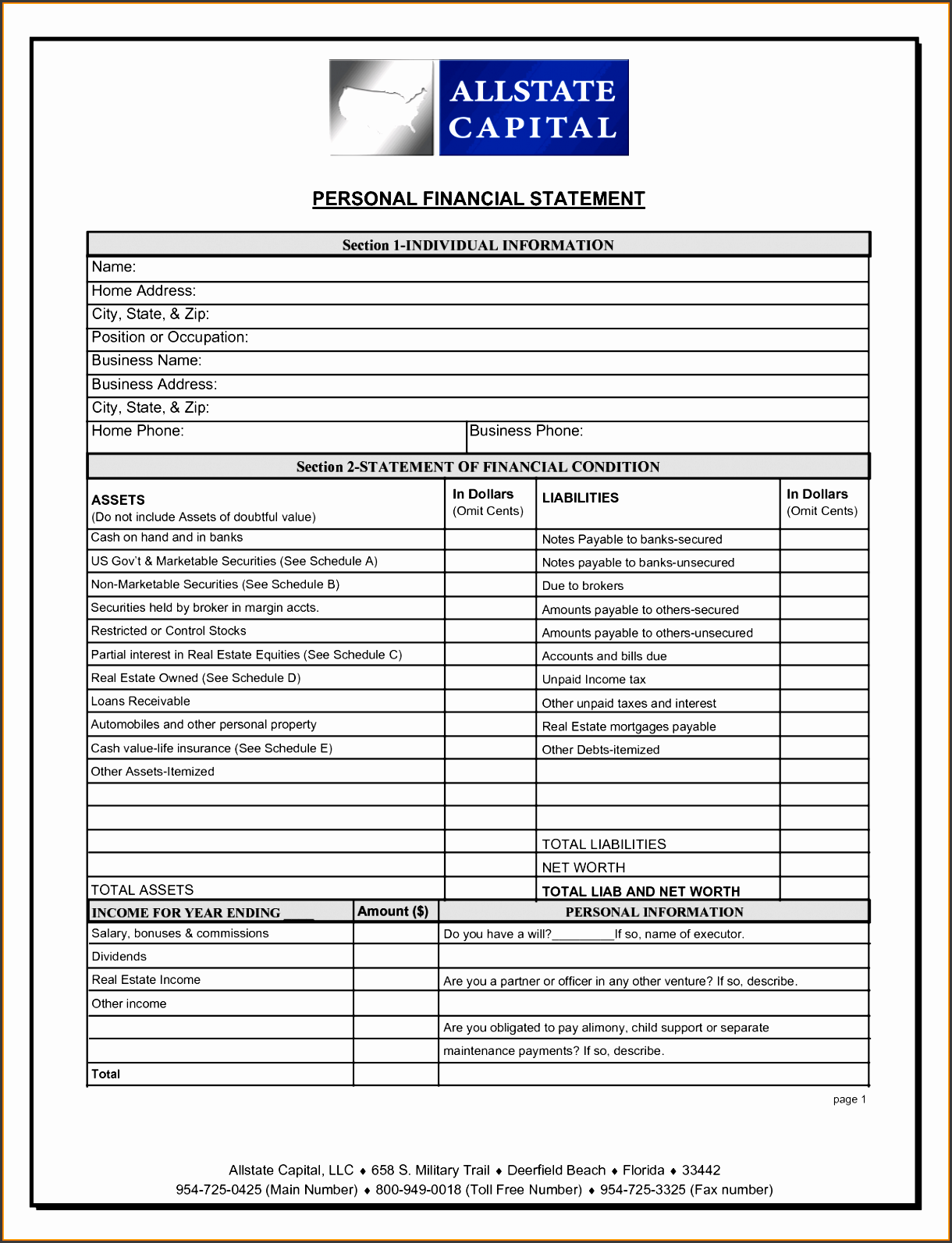 sample personal financial statement template and 10 financial statement template financial statement form
