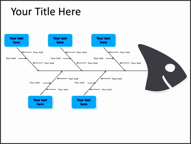 powerpoint slide fishbone diagram blue 5 arrows pl 193