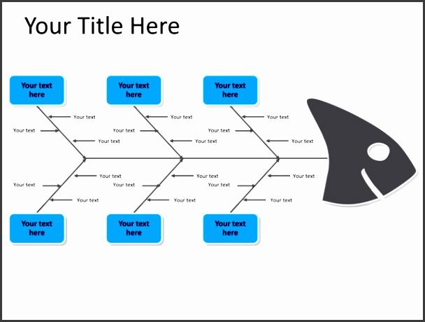 powerpoint slide fishbone diagram blue 6 arrows pl 194