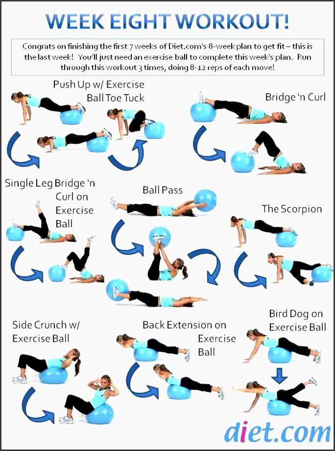 week 8 s workout plan uses an exercise ball