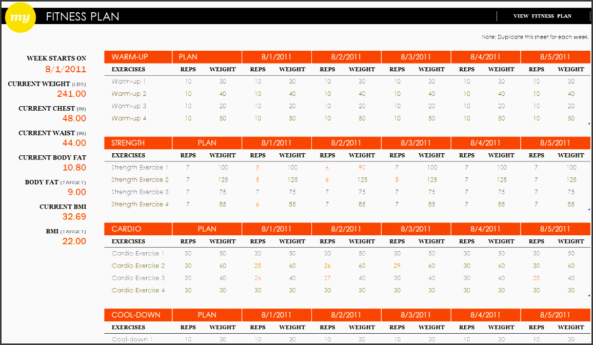 fitness plan excel template