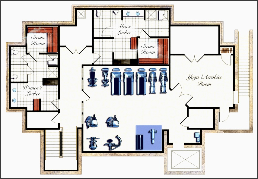 gym designs and layout design 3d