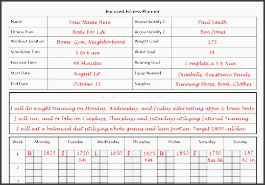 fitness planner template for focused fitness