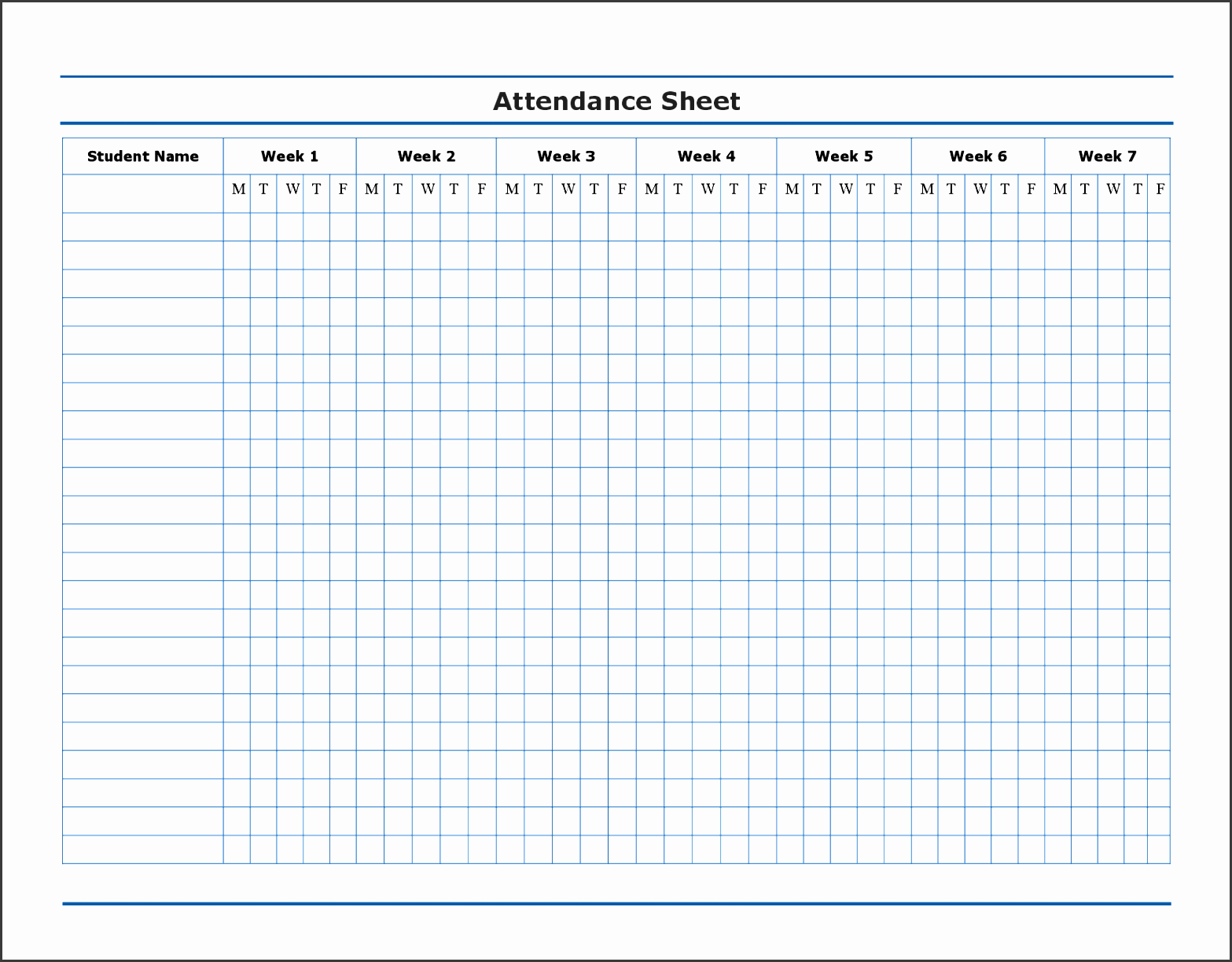 uncategorized efficient attendance sheet template for classroom with student record in 7 weeks